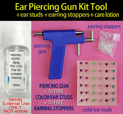Ear Piercing Gun Kit Tool + 72 Coloful Ear Studs + 72 Stoppers + Alcohol Spray