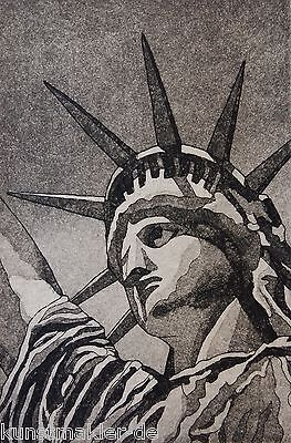 Michael J. LEU (1951, USA) Lady Liberty Orig. Radierung NEW YORK Freiheitsstatue