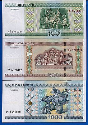 Belarus SET-1 100,500,1000 Rublei Uncirculated 3 Banknotes FREE SHIPPING