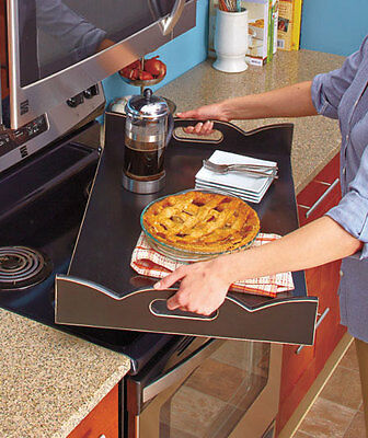 Wooden Stove Top Covers with Handles Server Tray Black Stop Spilling in Burners