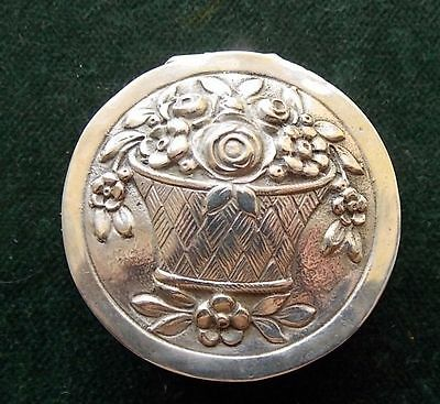 Antique Round Sterling 800 silver pill box basket with flower