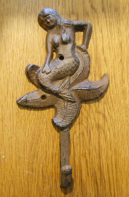 2 Cast Iron MERMAID Towel Hooks Hat Rack Nautical Swimming Pool Hook BROWN