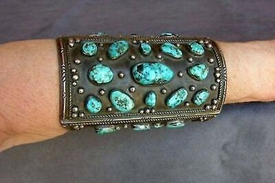 Vintage Old Pawn Turquoise & Sterling Silver 1940's Bow Guard Cuff Bracelet