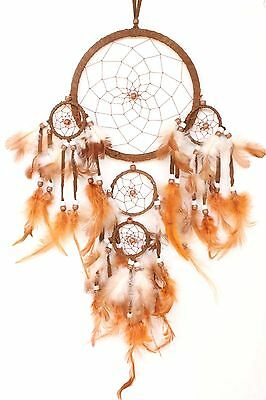 Brown Dream Catcher Handmade w/ Leather & Feather Car Wall Home Decor ( QTY 2 )