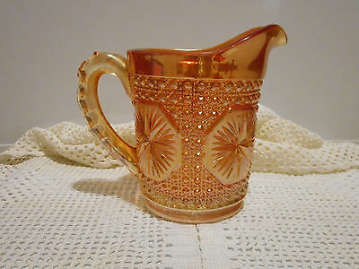 Amber Marigold Carnival Glass Star Medalllion Milk Pitcher Imperial Glass Corp