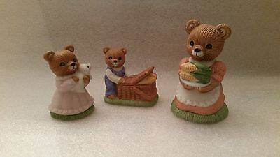 HOMCO # 1462 TEDDY BEARS PICNIC PORCELAIN FIGURINES SET OF 3  MAMA, BOY & GIRL
