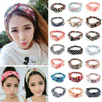 Fashion Women Girl Yoga Elastic Turban Floral Twisted Knotted Hair Band Headband