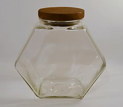 Vintage Apothecary Display Candy Cookie Fish Bowl Glass Jar Wood Cover