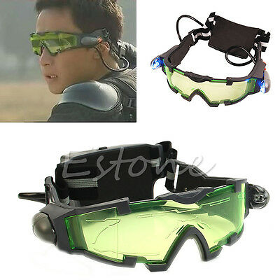 Adjustable Elastic Band Night Vision Eyeshield LED Green Lens Goggles Glasses