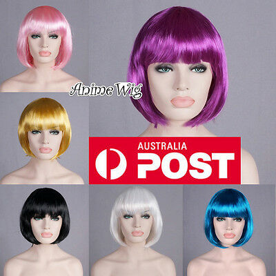 40CM Short Black Bob Party Wig Pink/Red/Purple/Blue Fancy Dress Costume Cosplay