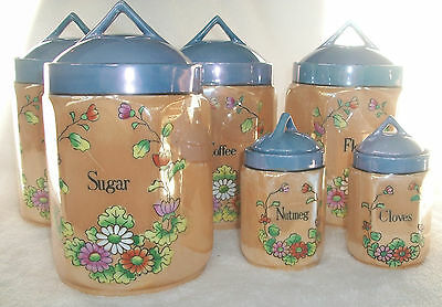 VINTAGE MADE IN JAPAN LUSTERWARE CANISTER SET - VERY NICE - RARE