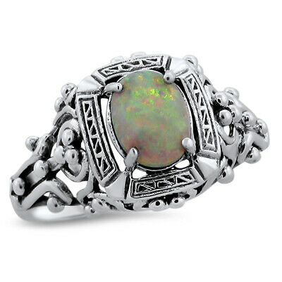 White Lab Opal Antique Victorian Design .925 Sterling Silver Ring,       #583