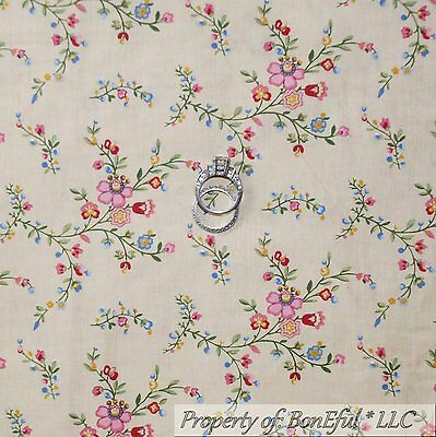 BonEful Fabric FQ Cotton Quilt VTG Cream Pink French Country Flower Shabby Chic