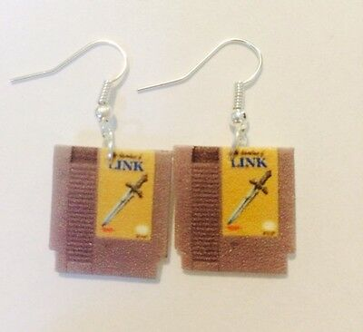 Adventures Of Link Legend Of Zelda 2 Cartridge Earrings HANDMADE PLASTIC CHARMS
