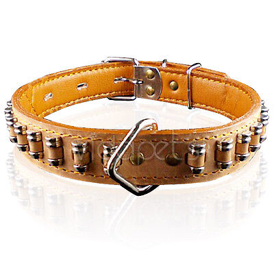"""22-26""""  Real Genuine Leather Heavy Duty Dog Collar with bullets Large L XL"""