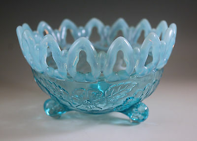 Eapg 1906 Northwood Glass Blue Opalescent Shell And Wild Rose Novelty Bowl