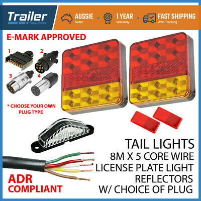 Led Trailer Lights Kit 7 Pin Plug, Number Plate Light, 5 Core Wire, Reflectors