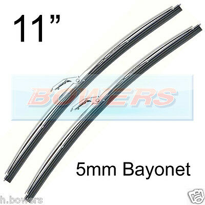 """PAIR OF 11"""" INCH STAINLESS STEEL CLASSIC CAR WIPER BLADES 5mm BAYONET FITTING"""