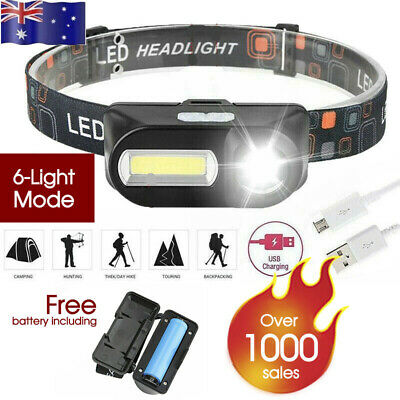 Waterproof Head Torch Headlight LED USB Rechargeable Headlamp FREE BATTERY AU