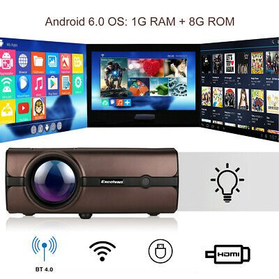 Android 6.0 Smart 4K WiFi 1080P HD LCD Projector Multimedia Home Cinema Theater