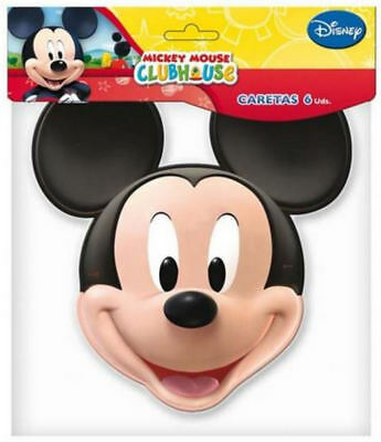 6 Mickey Mouse Masks - Official Branded - Party Toy Loot Cardboard Gift Kids