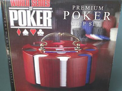 POKER SET WITH PLAYING CARDS AND SOLID WOOD STAND BRAND NEW IN BOX