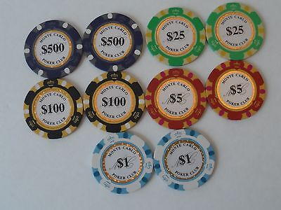 lot of (10) Monte Carlo Poker Club chips (2 $1 - 2 $5 - 2 $25- 2 $100 - 2 $500)