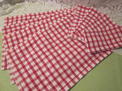 Red Check Place Mats Matching Napkins Made in India Cotton Perfect for Picnics!
