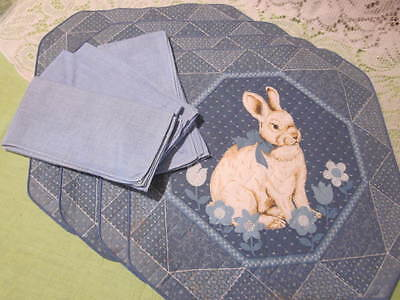 Blue Quilted Place Mats with Matching Napkins Springy Rabbit Design