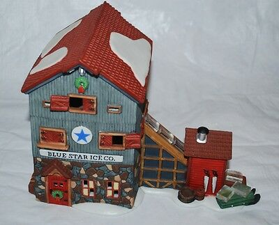 Dept 56 New England Village Christmas Blue Star Ice Co Building in Box Lights Up