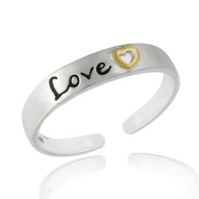 .925 Sterling Silver Two Toned 'Love' Etched Toe Ring