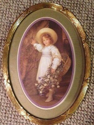 Vintage HOMCO SYROCO Oval Wall Print Picture Girl with Basket of Flowers Matted