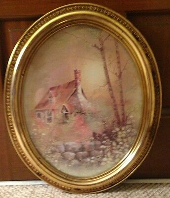 Vintage SYROCO Oval Print of Cabin House in the Woods Brick Wall