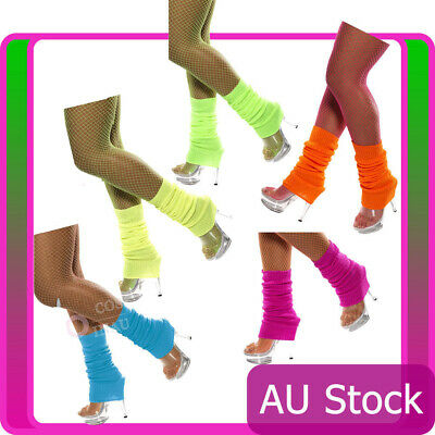 Licensed Womens Party Legwarmers Knitted Neon Dance 80s Costume Leg Warmers