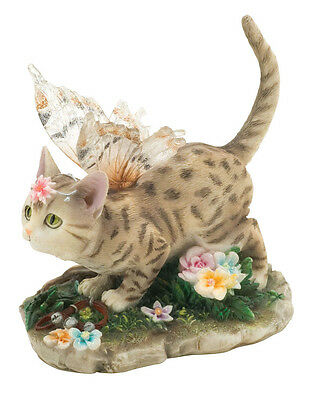 ✴ FAERIE GLEN Faerie Tails Fairy Cat Figurine Brown Spotted Tabby Cat Annabelle