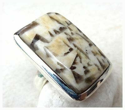 925 Sterling Silver GRAPHIC JASPER Semi Precious GEMSTONE RING SIZE R - US 8 3/4