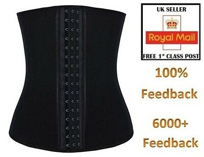 STEEL BONE Sport Latex Waist Cincher Trainer Corset Body Shaper Black Boned UK