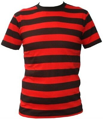 Red And Black Striped #Top Shirt Freddy Dennis Fancy Dress Adult One Size