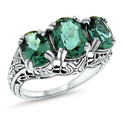 3.5 Ct Sim Emerald 3 Stone 925 Sterling Silver Antique Art Deco Design Ring,#639