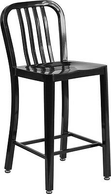 24'' Black Metal Indoor or Outdoor Counter Height Stool  CH-61200-24-BK-GG