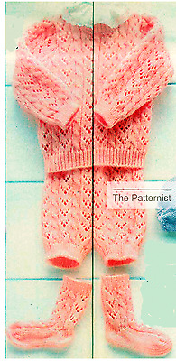 Baby Sweater Knitting Pattern Soakers Socks Lace & Cable Vintage Copy