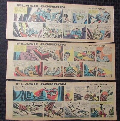 1967 FLASH GORDON Color Newspaper Strips by Mac Raboy LOT of 9 VG+ 9/10 - 11/5