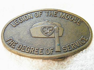 Vintage Solid Brass Legion Of The Moose The Degree Of Service Belt Buckle