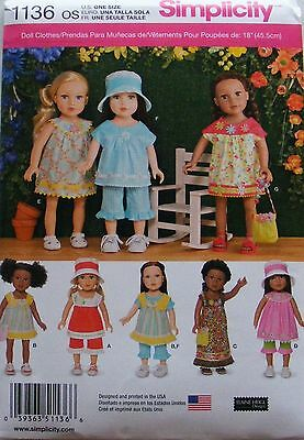 """Simplicity 1136 Pattern For Casual Wear 18"""" Dolls - New Release 2015 Trendy"""