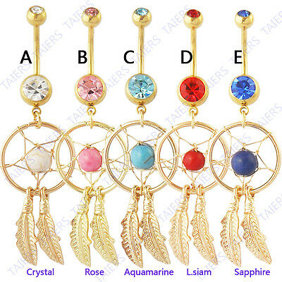 5pc Gold Dream Catcher Navel Rings 14g Belly Naval dream catcher wholesale lot