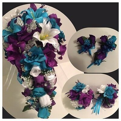Purple Malibu Turquoise Tiger Lily Bridal Bouquet Cascade Package Boutonnieres