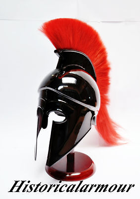 Greek Corinthian Helmet with Red Plume, Armor Sca Medieval Knight Spartan