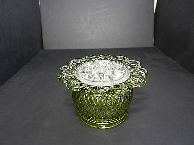 "Imperial Glass Genie Lace Edge Vase w Flower Frog Verse Green 5 3/4"" D TM"