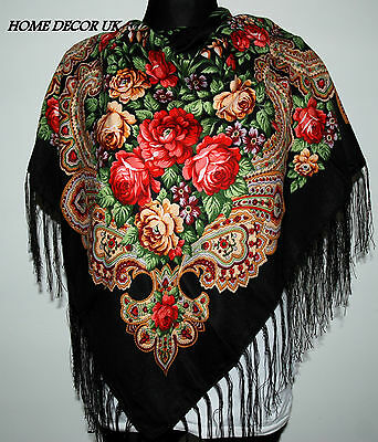 Colourful floral folk vintage style new scarf shawl fringe spring collection -2