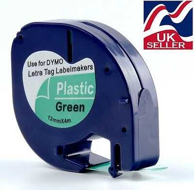1, 3 or 6 x tape 91204 green plastic 12mm by 4m for DYMO LETRATAG label makers